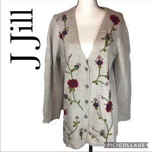 J. Jill button up long cardigan embroidered L
